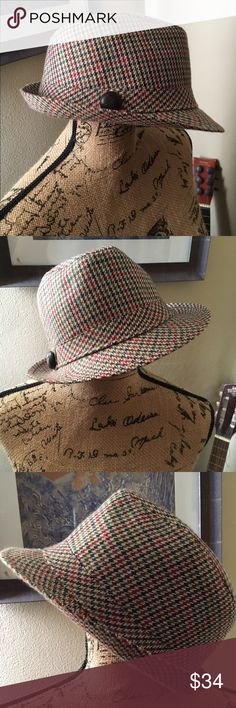 1cd994ecea8 HOUNDSTOOTH Trilby Hat gorgeous cool stylish 🎁 BE A COOL 🐱 KITTEN SUPER  STYLISH ORANGE AND GRAY HOUNDSTOOTH PLAID TRILBY HAT WITH BLACK LEATHER  BUTTON ...