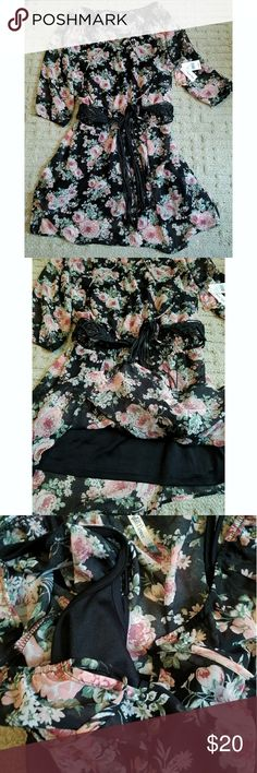 """Black floral dress Black floral chiffon """"Wallflower Jeans"""" brand dress with attached stretchy black slipdress underneath;attached leather belt. Brand new with tags. Never worn. Wallflower Dresses"""