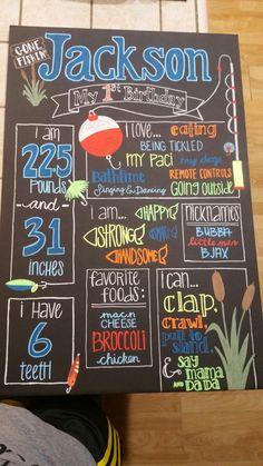 "Fishing themed birthday board. ""Gone fishing"" ""Reeling in the big 1"" chalkboard art. Birthdays."
