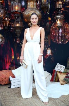 f449c7a5cd65 Spott - Olivia Culpo looks amazing in this White Jumpsuit by Rachel Zoe