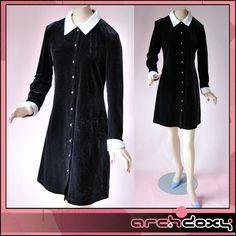 Vintage 1990s Black Diamante Button Front Velvet Satin Collar Coat Party Dress
