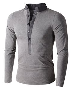 Mens Long Sleeve Slim Fit Henley Shirts (L, Army Green)