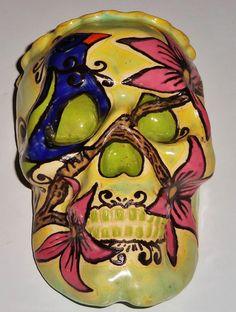 Bird in Paradise Handmade Sugar Skull Wall Pocket by LeavesofRed