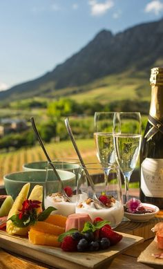 Dine alfresco at Delaire Graff Estate Restaurant with garden fresh meals and fabulous wines. Situated in Stellenbosch, South Africa #southafrica #stellenbosch #restaurant #outsidedining South Africa Honeymoon, South Africa Tours, Cape Town South Africa, Fresco, South African Weddings, Africa Travel, Wine Recipes, Eat, Wedding Venues
