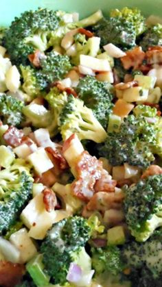 Broccoli Apple Salad Recipe ~ This one has a delicious, crisp apple, with red onion, celery and crumbled bacon