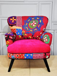 Neon patchwork armchair with Suzani  by namedesignstudio,
