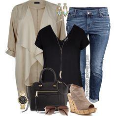 Plus Size Fashion - Taupe Jacket by alexawebb on Polyvore #plussize #outfit #plussizefashion #alexawebb @alexandrawebb