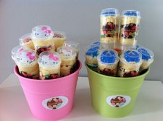 Individual Push-Up Cakes. I love the idea of ice cream between the cake layers. Yummy!