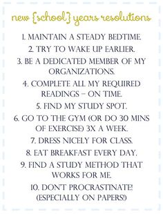 Great goals to strive for this upcoming semester!