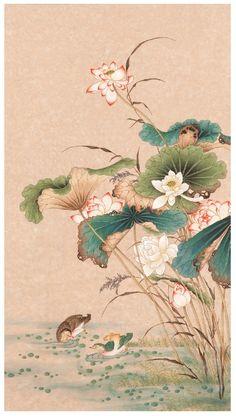 Korean Art, Asian Art, Art Floral, Art And Illustration, Lotus Flower Art, Ink Pen Art, Lotus Painting, Japanese Artwork, Samurai Art
