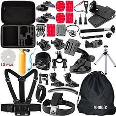 SOMATE 50-in-1 Accessory Kit for Gopro Hero 4 3+ 3 2 1 Silver Black with Coupon Code 68DJD73Q for $17.88 At Amazon,:… #coupons #discounts