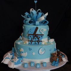 www.froobi.com-Baby-Shower-Cakes-for-Boys-with-a-Pram-Baby-Shoes-and-Teddy-Bear-Decoration-Ideas-728x736.jpeg (728×736)