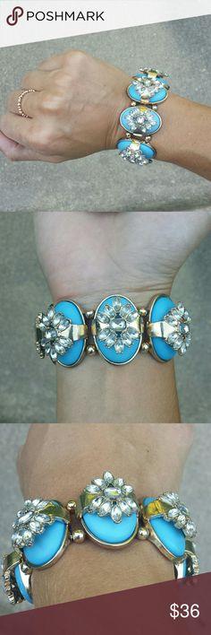 J. Crew Statement Bracelet Robins egg blue, gold and rhinestone bracelet. Stretchy band. Jewelry bag included. J. Crew Jewelry Bracelets