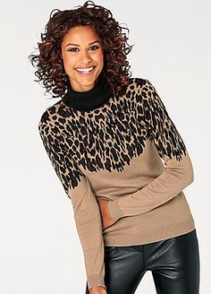Ashley Brooke Leopard Print Turtleneck Jumper