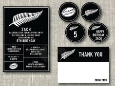 All Black Birthday Invitation This listing is for a DIGITAL personalised birthday invitation. You have the option of including a personalised Thank You card of the same