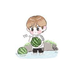 Kpop Drawings, Cute Drawings, Kpop Guys, Foto Jungkook, Kpop Fanart, Cute Wallpapers, Boy Groups, Chibi, Kawaii