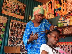 Hairdressers in Kenya specialize in elaborate braids.