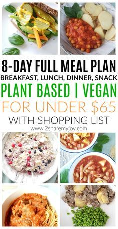 Plant Based Meal Plan on a Budget with shopping list, breakfast, lunch, snack, and dinner. A full 8-day vegan meal plan for two under $65.