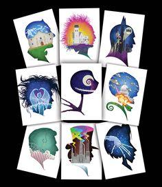 """Sam Carter """"Burton Show Silhouettes"""" postcards"""