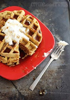 Puffy Pumpkin Waffles – These waffles are so delicious, and so pumpkiny, and so puffy! Yet still slightly more dense than your average Belgian waffle. Yep, it's that time of year. Pumpkin season!! Pumpkin bread? Check. Pumpkin muffins? Check. Pumpkin pie? Check. Pumpkin lasagna? Ewe. I say ewe because um, that just sounds gross to …