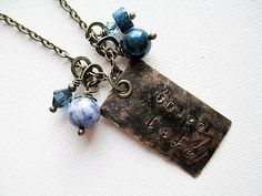 Stamped Metal Necklace Blue Beaded Jewelry by LittleBitsOFaith, $30.00