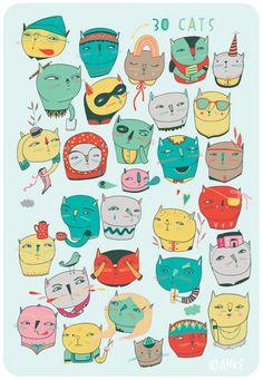 30 CATS (personal work, 2009)    De: http://linotte.net