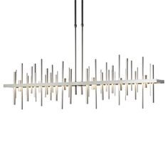 The Cityscape Pendant's polished aluminum rods pierce through a glowing edge-lit LED guide plate creating an ethereal blend of light and shadow. TThe Cityscape has a color temperature of 2700K and is dimmable. | Cityscape Large Vintage Platinum LED Pendant - 139726
