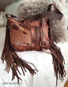 Milky brown distressed leather bag few tones fringe fringed