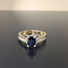 14k Yellow gold natural Blue Sapphire & VS by crystalanchor