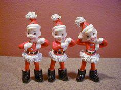 3 Vintage Ceramic Santas Helpers Spaghetti Figures Kreiss w Gems Stones 1956 | eBay
