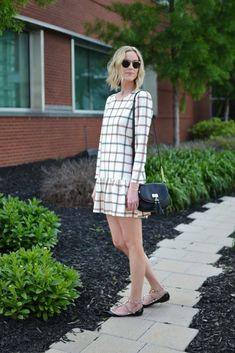 plaid dress, studded flats, krew glasses 2