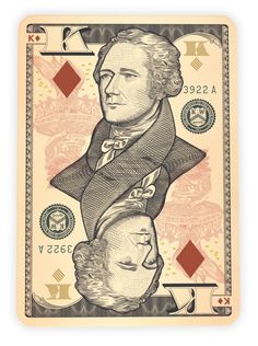 Legal Tender - money themed playing cards by Jackson Robinson on Kickstarter.  King of Diamonds