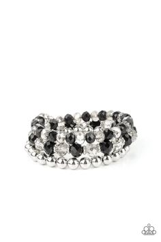 Gimme Gimme - Black Paparazzi Accessories, Paparazzi Jewelry, Silver Cuff, Silver Beads, Black Bracelets, Wire Wrapped Bracelet, Black Rhinestone, Ball Necklace, Metal Beads