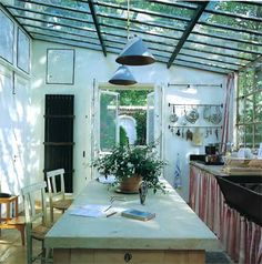 French kitchen - the skylighted ceiling is di-VINE.