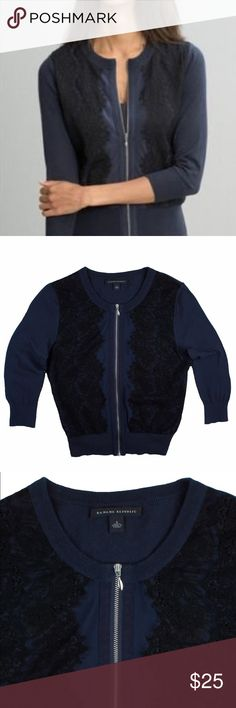"""BANANA REPUBLIC Navy Blue Lace Front Cardigan Great condition! This navy blue cardigan from BANANA REPUBLIC features black lace panels in front and a zip up closure. 3/4 length sleeves. Made of 100% cotton. Measures: bust: 36"""", total length: 22"""", sleeves: 17"""" Banana Republic Sweaters Cardigans"""