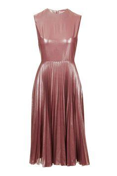 PETITE Metallic Lamé Pleated Midi Dress