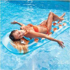Inflatable Floating Lounger Pool Beach Air Mattress Water Floats Raft Bed Lilo for sale online Floating In Water, Air Mattress, Rafting, Patio, Bed, Garden, Outdoor Decor, Garten, Terrace