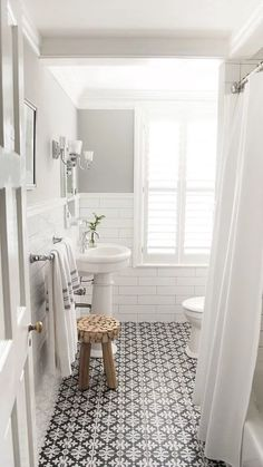 Superb Tile, Finishes   Small Bathroom With White Subway Tile, Gray Walls And  Cement Encaustic Floor Tile. Love The Floor!