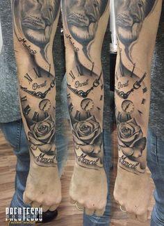 Tattoo Lion Löwe Uhr Clock Rose
