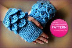 Crochet Pattern - Crocodile Stitch Fingerless Gloves $3.95