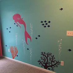 Mermaid Decal Mermaid Wall Decal Aquarium Bubbles Decal Girls Ocean Decal Deep Sea Wall Decal Little Mermaid Decal Mermaid Wall Art Sticker  Great addition to your aquarium or deep sea themed wall. Looks great as is!  Overall dimensions of design = 68H x 80W (approximate since you can lay out the decal in any design)  Mermaid • 22W x 48H Complex Coral • 22H x 30W Simple Coral • 22H x 18W 5 Bubble Columns • each one is 22H x 5-10 (each one is layed out as seen in 2nd photo - add included extra...