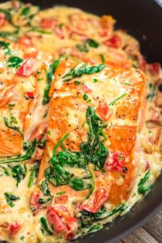 4 Points About Vintage And Standard Elizabethan Cooking Recipes! This Salmon In Roasted Pepper Sauce Makes An Absolutely Scrumptious Meal, Worthy Of A Special Occasion. Make This Easy One-Pan Dinner In Just 20 Minutes Healthy Salmon Recipes, Fish Recipes, Seafood Recipes, Cooking Recipes, Recipes Dinner, Salmon Spinach Recipes, Flour Recipes, Bread Recipes, Salmon Dinner