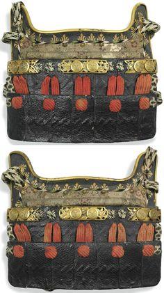 A pair of waki-biki (under-arm pieces), leather-covered shittsukezane.