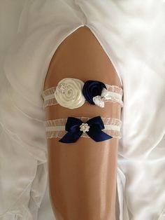 wedding garter set royal blue /ivory bridal garter by venusshop ...