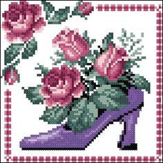 0 point de croix chaussures et fleurs  - cross stitch shoes and flowers 1