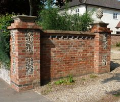 New wall and post executed in a period style – brick, flint pineapple finial. Brick Wall Gardens, Brick Garden, Old Brick Wall, Brick Fence, Patio Courtyard Ideas, Brick Images, Brick Columns, Gate Post, Brick Works