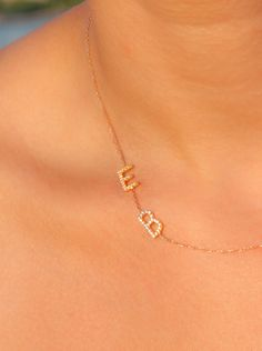 Personalized Womens Jewelry - Custom NEcklace - Christmas Stocking - Two Initial Necklace - Gold Initial Necklace  - 14k Rose Gold NEcklace initial necklace two initial necklace personalized sideways necklace letter necklace custom necklace rose gold necklace dainty necklace diamond necklace initial jewelry personalized womens womens jewelry 14k Gold 210.00 USD #goriani