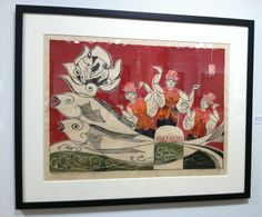 "AFFORDABLE Art Fair 9/2015 - Nguyen Thanh Son, Puppet's Dance, 2007. Woodblock print on paper, 20.75"" x 29.25."" Judith Hughes Day Vietnamese Contemporary Fine Art."