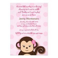 18 best pink monkey baby shower invitations images on pinterest girl monkey dots custom baby shower invitations filmwisefo
