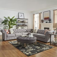 "You'll love the Mona 117"" Chesterfield Sectional Sofa at Joss & Main - With Great Deals on all products and Free Shipping on most stuff, even the big stuff."